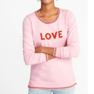 Old Navy Love Graphic Sweater Pink Red XL